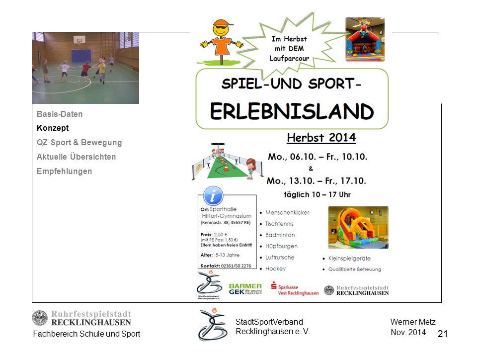 Basis-Daten Konzept. QZ Sport & Bewegung. Aktuelle Übersichten. Empfehlungen. StadtSportVerband Recklinghausen e. V.