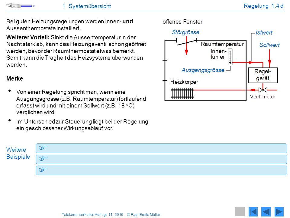 1 Systemübersicht Regelung 1.4 d. Bei guten Heizungsregelungen werden Innen- und Aussenthermostate installiert.