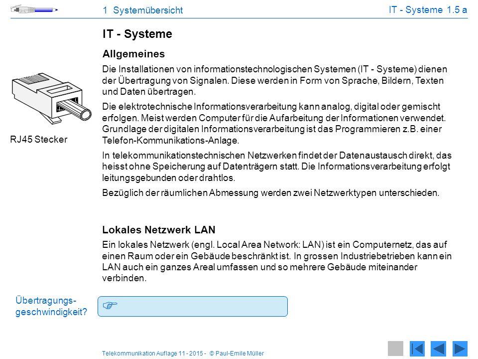  100 Mbit/s bis etwa 10 Gbit/s. IT - Systeme Allgemeines