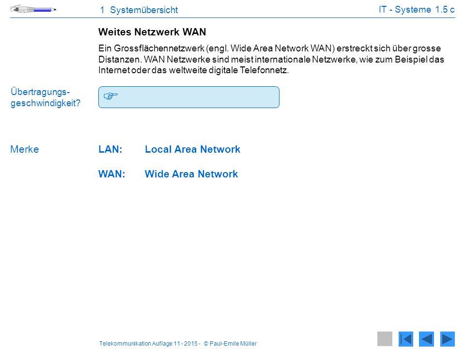  64 kbit/s bis mehrere Gbit/s. Weites Netzwerk WAN Merke