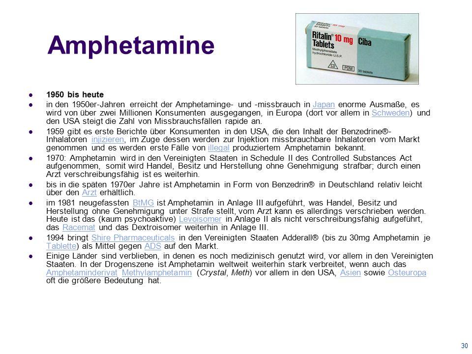 Amphetamine 1950 bis heute.