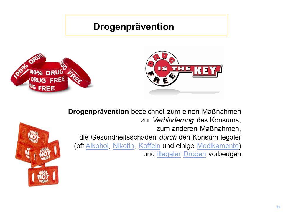 Drogenprävention Drogenprävention bezeichnet zum einen Maßnahmen. zur Verhinderung des Konsums, zum anderen Maßnahmen,