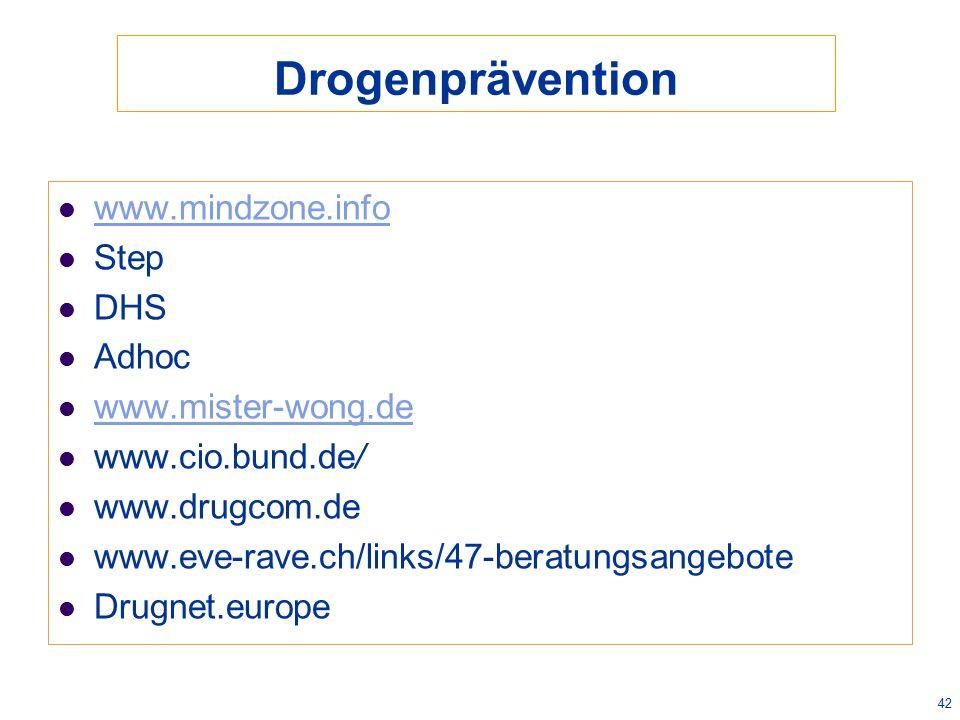 Drogenprävention www.mindzone.info Step DHS Adhoc www.mister-wong.de