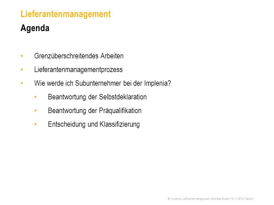 Lieferantenmanagement Agenda