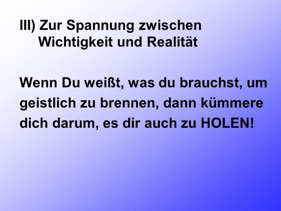 III) Zur Spannung zwischen Wichtigkeit und Realität