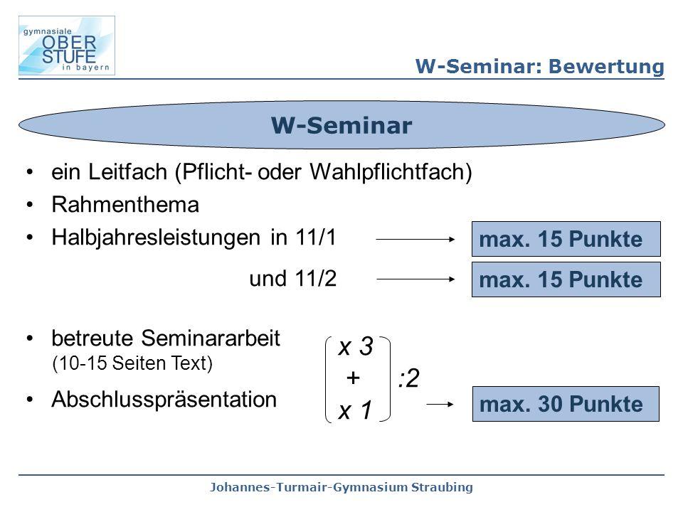 x 3 + :2 x 1 W-Seminar ein Leitfach (Pflicht- oder Wahlpflichtfach)
