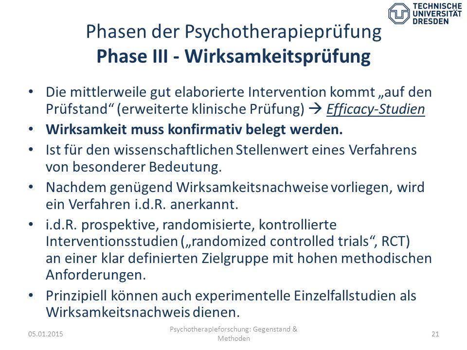 Phasen der Psychotherapieprüfung Phase III - Wirksamkeitsprüfung