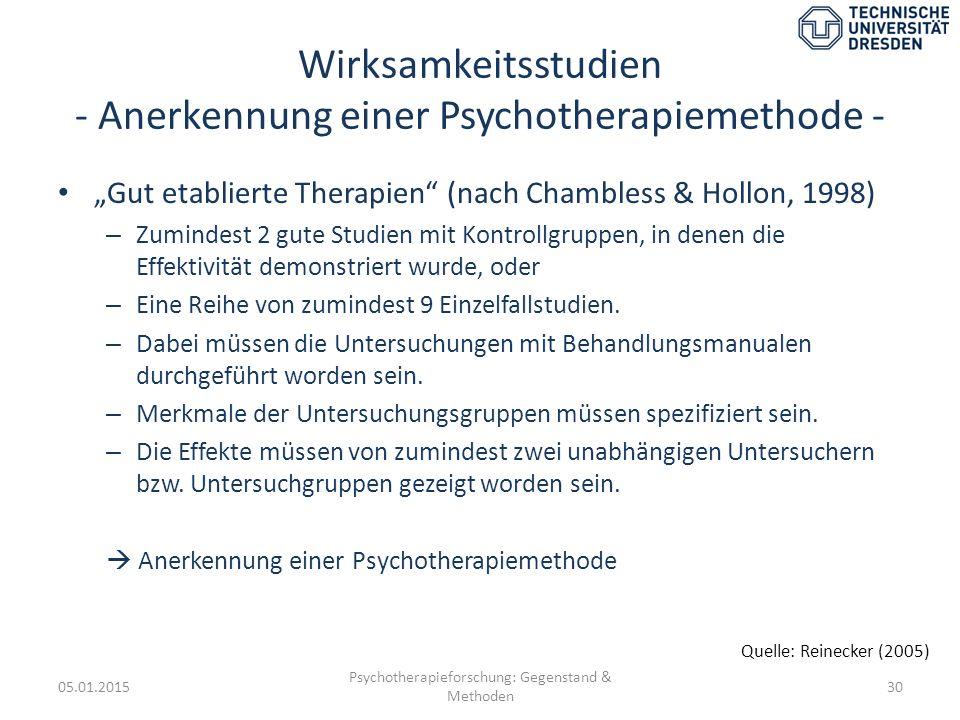 Wirksamkeitsstudien - Anerkennung einer Psychotherapiemethode -