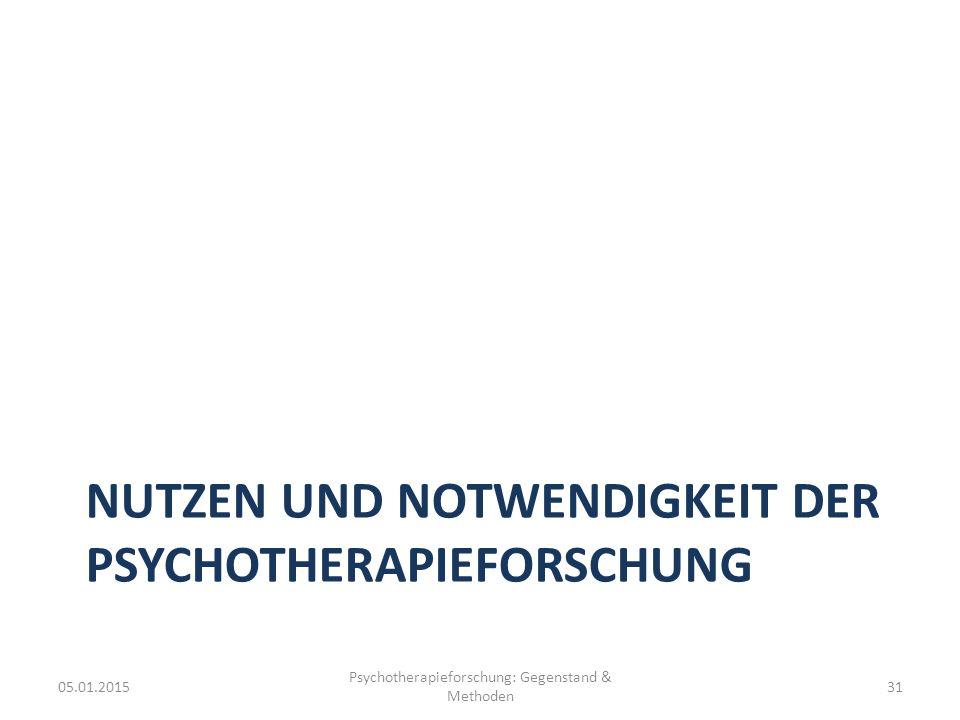 Nutzen und Notwendigkeit der Psychotherapieforschung
