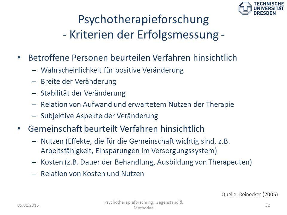 Psychotherapieforschung - Kriterien der Erfolgsmessung -