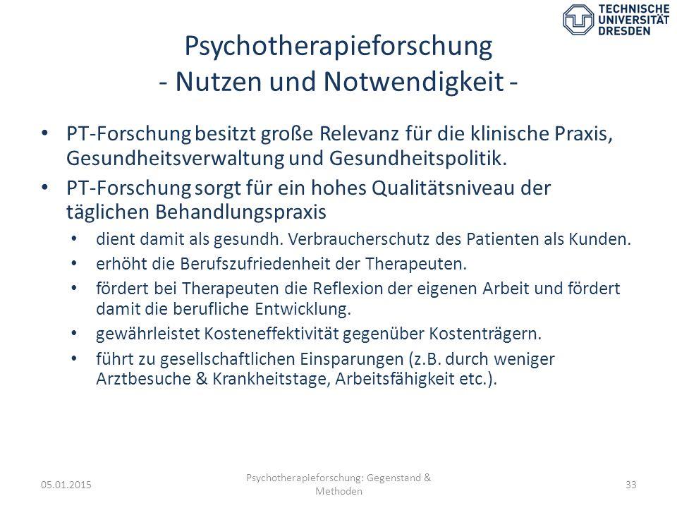 Psychotherapieforschung - Nutzen und Notwendigkeit -