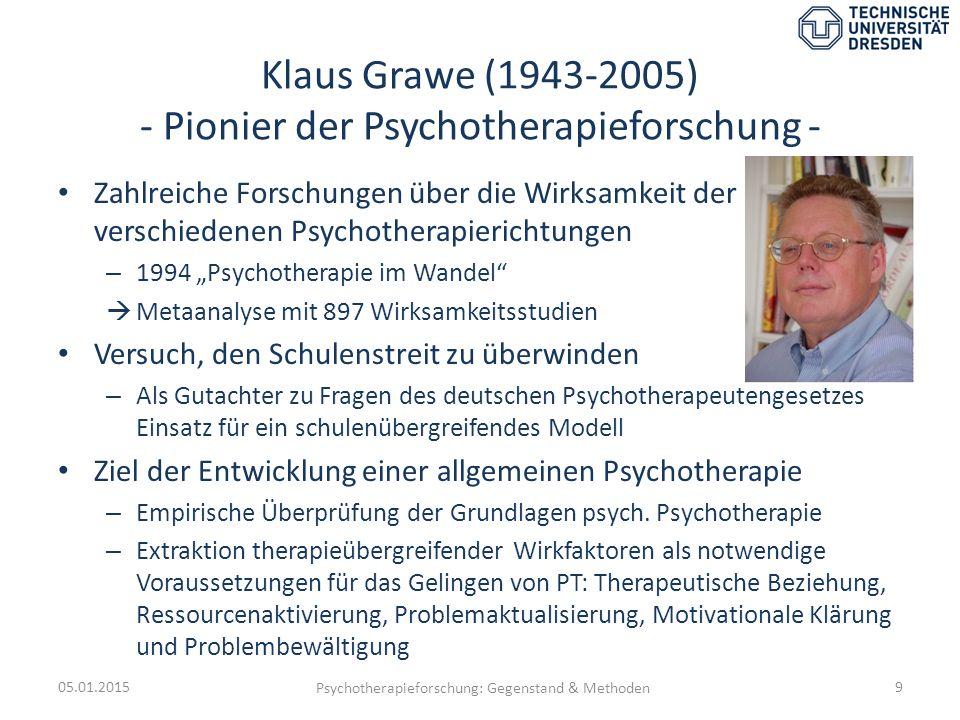 Klaus Grawe (1943-2005) - Pionier der Psychotherapieforschung -