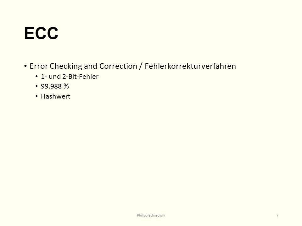 ECC Error Checking and Correction / Fehlerkorrekturverfahren