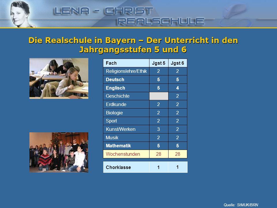 Die Realschule in Bayern – Der Unterricht in den Jahrgangsstufen 5 und 6