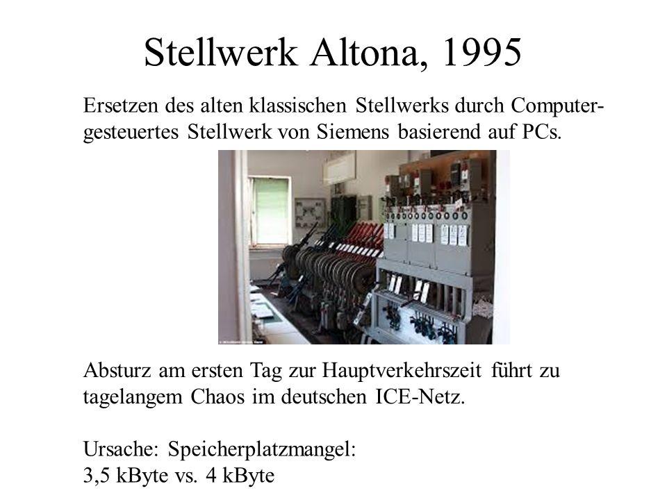 Stellwerk Altona, 1995 Ersetzen des alten klassischen Stellwerks durch Computer- gesteuertes Stellwerk von Siemens basierend auf PCs.