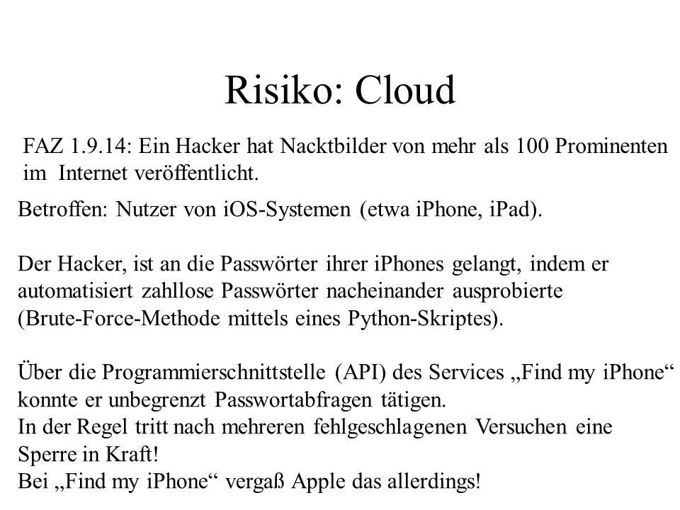 Risiko: Cloud FAZ 1.9.14: Ein Hacker hat Nacktbilder von mehr als 100 Prominenten. im Internet veröffentlicht.