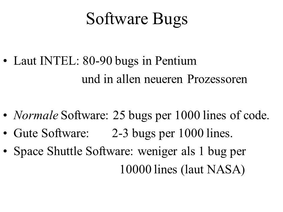 Software Bugs Laut INTEL: 80-90 bugs in Pentium