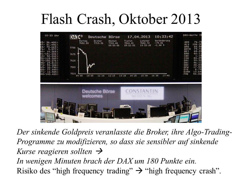 Flash Crash, Oktober 2013 Der sinkende Goldpreis veranlasste die Broker, ihre Algo-Trading-