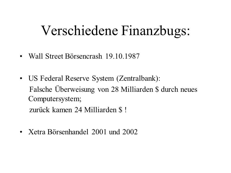 Verschiedene Finanzbugs: