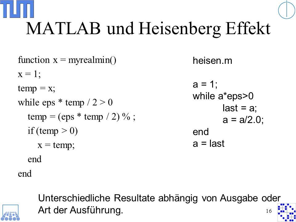 MATLAB und Heisenberg Effekt