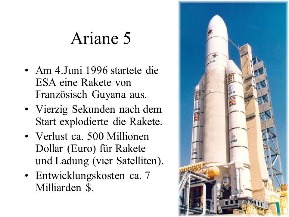Ariane 5 Am 4.Juni 1996 startete die ESA eine Rakete von Französisch Guyana aus. Vierzig Sekunden nach dem Start explodierte die Rakete.