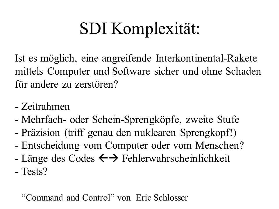 SDI Komplexität: Ist es möglich, eine angreifende Interkontinental-Rakete.