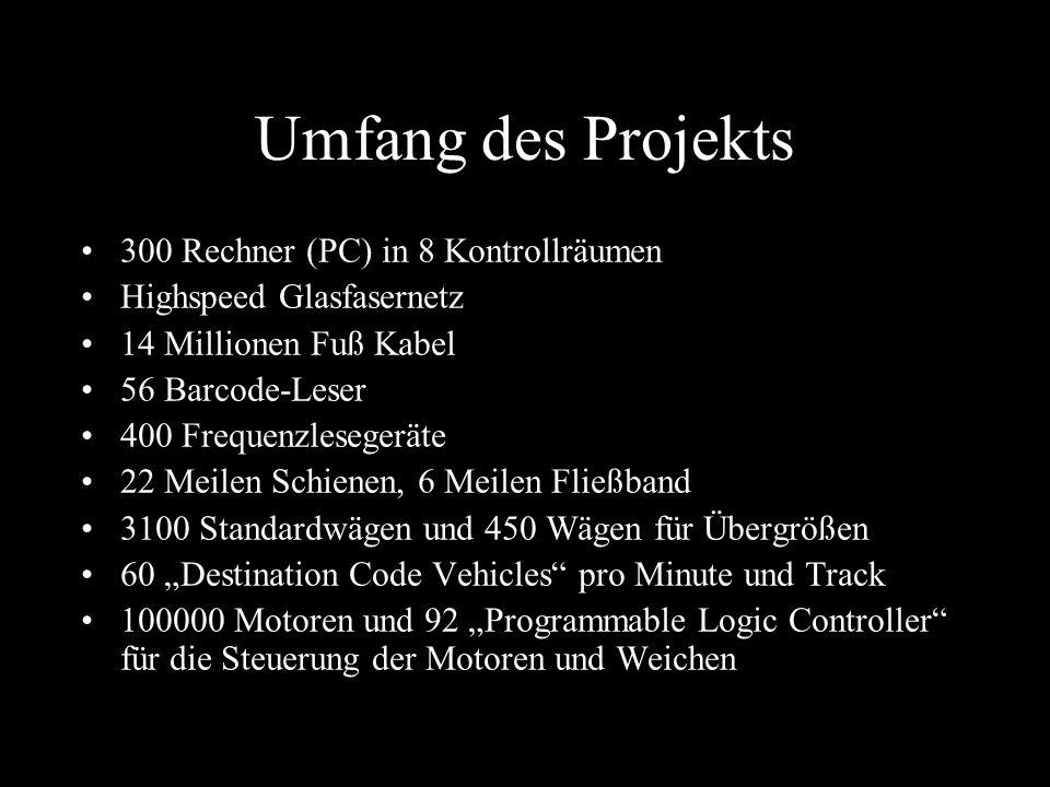Umfang des Projekts 300 Rechner (PC) in 8 Kontrollräumen