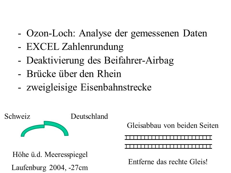 Ozon-Loch: Analyse der gemessenen Daten - EXCEL Zahlenrundung