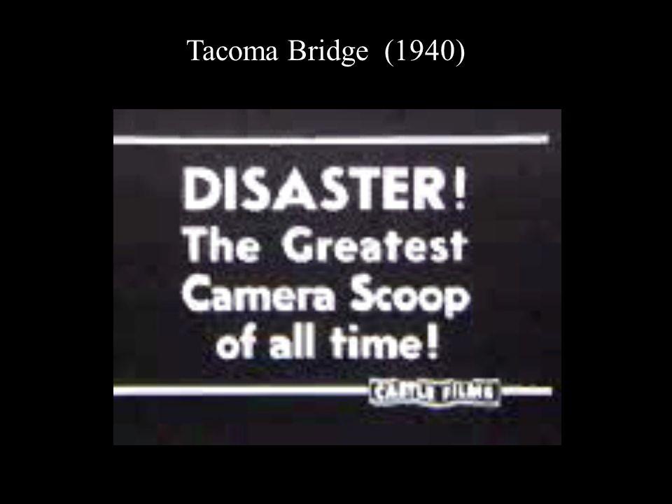 Tacoma Bridge (1940) 1940, Washington, Fallwinde, Torsionsschwingungen, Ausgangspunkt für Computersimulation mit finiten Elementen.