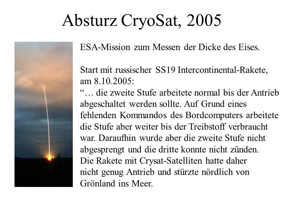 Absturz CryoSat, 2005 ESA-Mission zum Messen der Dicke des Eises.
