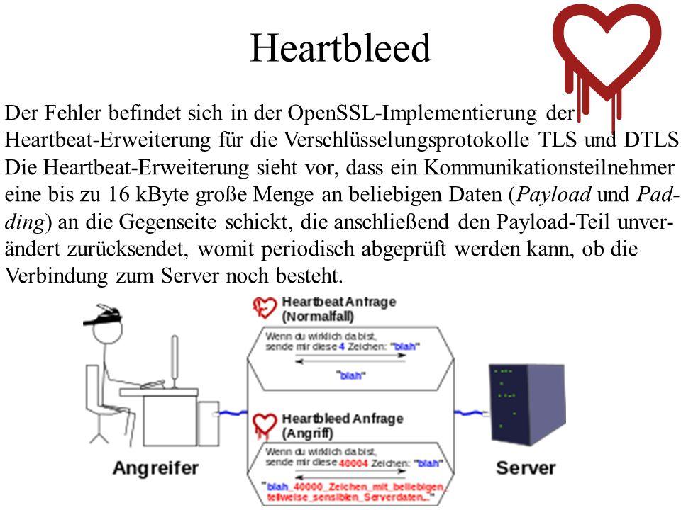 Heartbleed Der Fehler befindet sich in der OpenSSL-Implementierung der