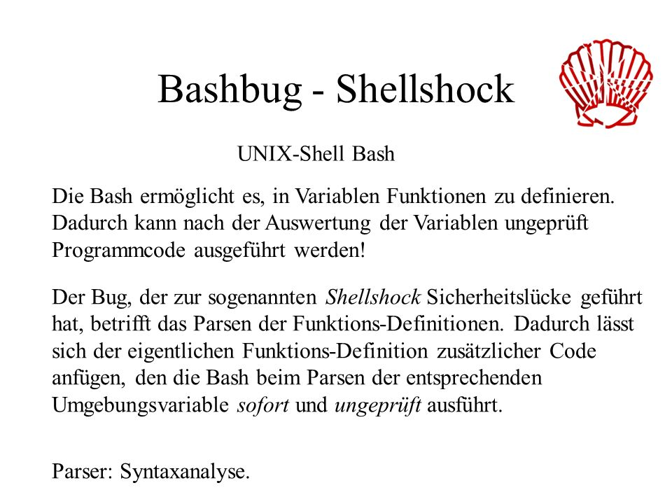 Bashbug - Shellshock UNIX-Shell Bash