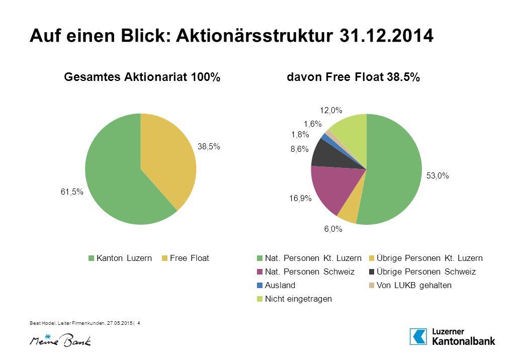 Auf einen Blick: Aktionärsstruktur 31.12.2014