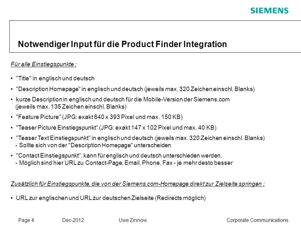Notwendiger Input für die Product Finder Integration