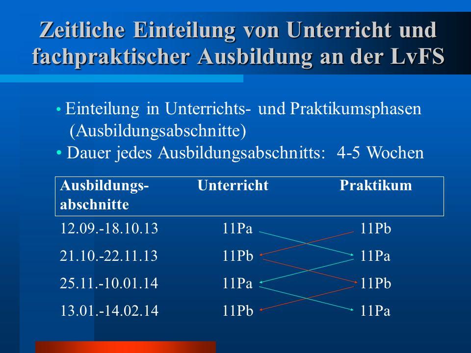 Zeitliche Einteilung von Unterricht und fachpraktischer Ausbildung an der LvFS