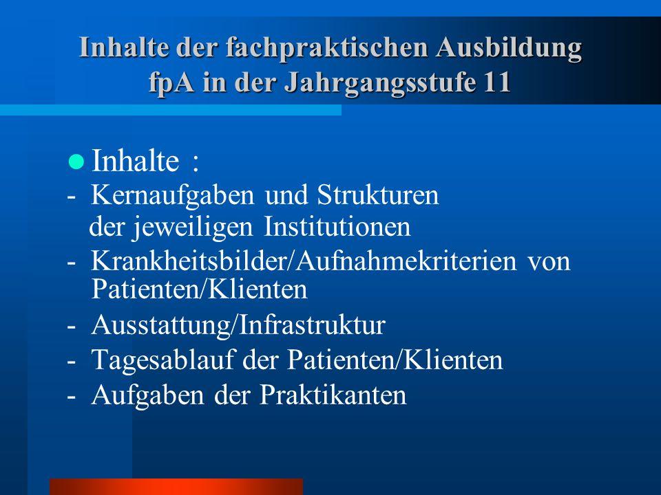 Inhalte der fachpraktischen Ausbildung fpA in der Jahrgangsstufe 11