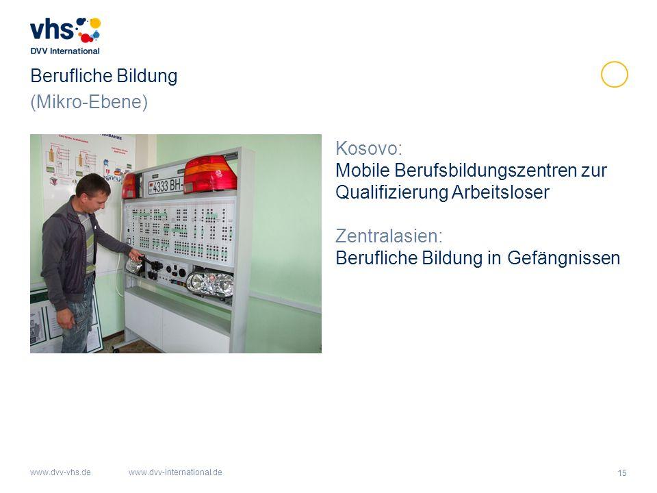 Berufliche Bildung (Mikro-Ebene) Kosovo: Mobile Berufsbildungszentren zur Qualifizierung Arbeitsloser.