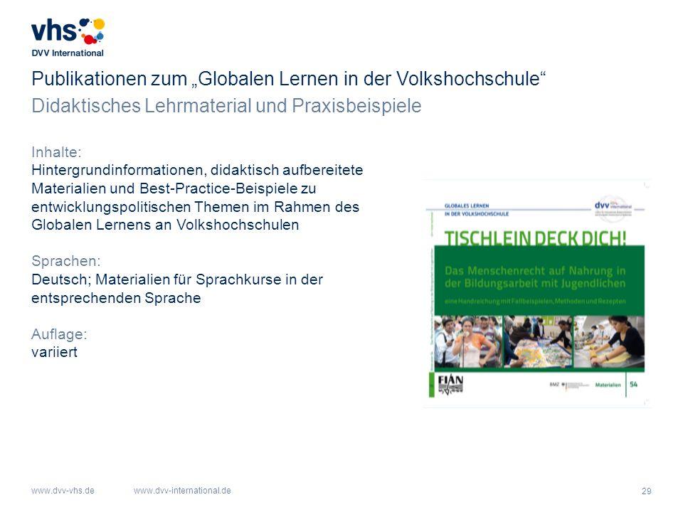 """Publikationen zum """"Globalen Lernen in der Volkshochschule"""