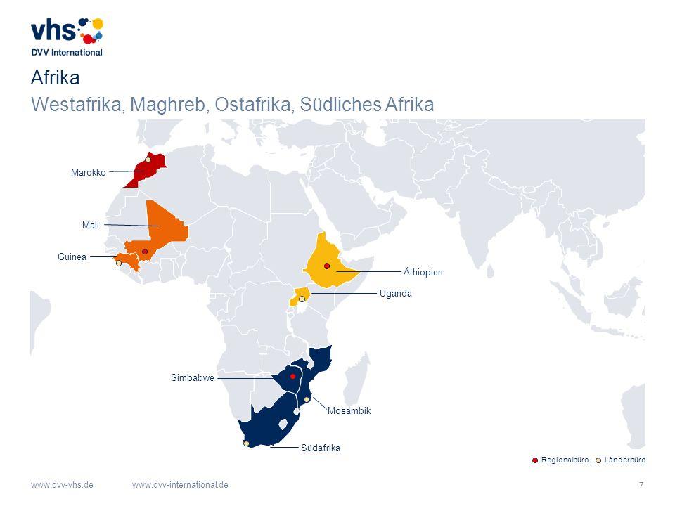 Westafrika, Maghreb, Ostafrika, Südliches Afrika