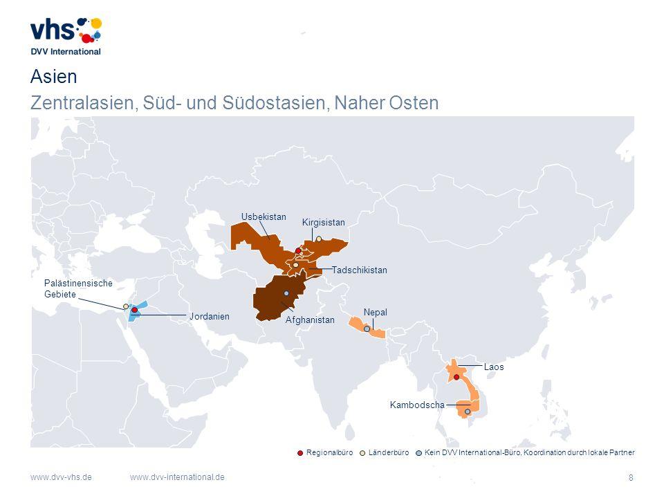 Zentralasien, Süd- und Südostasien, Naher Osten