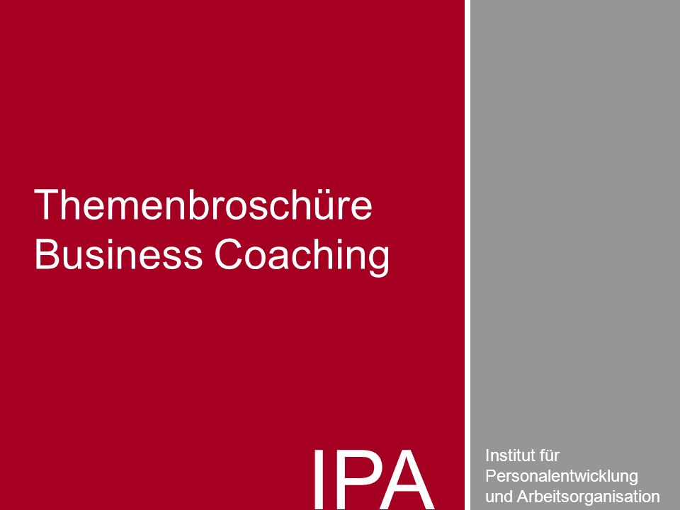 IPA Themenbroschüre Business Coaching Institut für