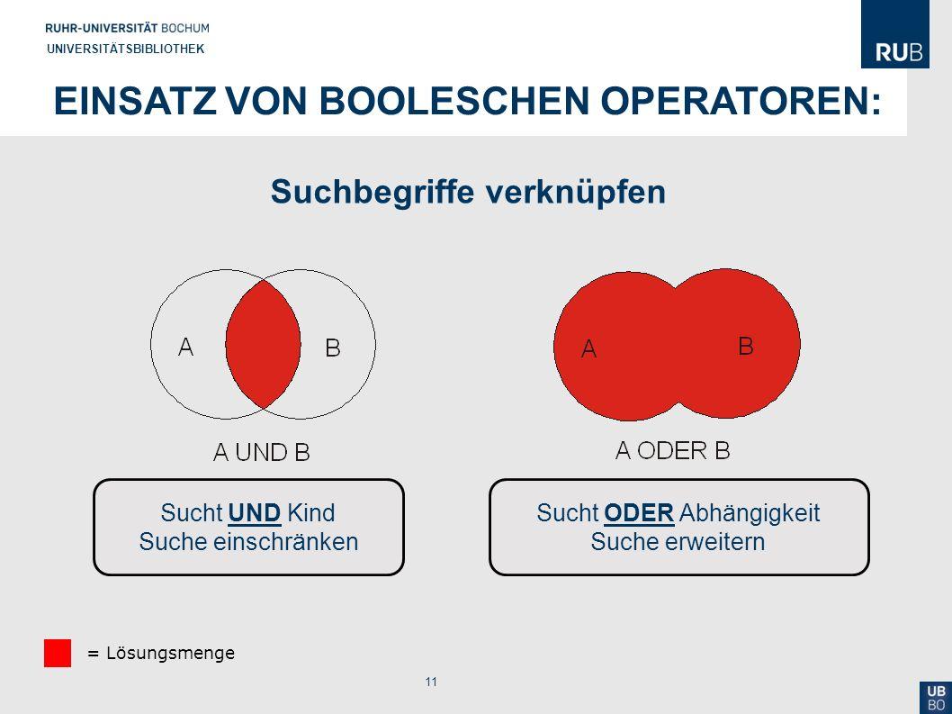 Einsatz von Booleschen Operatoren: