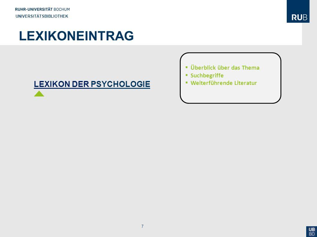 Lexikoneintrag LEXIKON DER PSYCHOLOGIE Überblick über das Thema