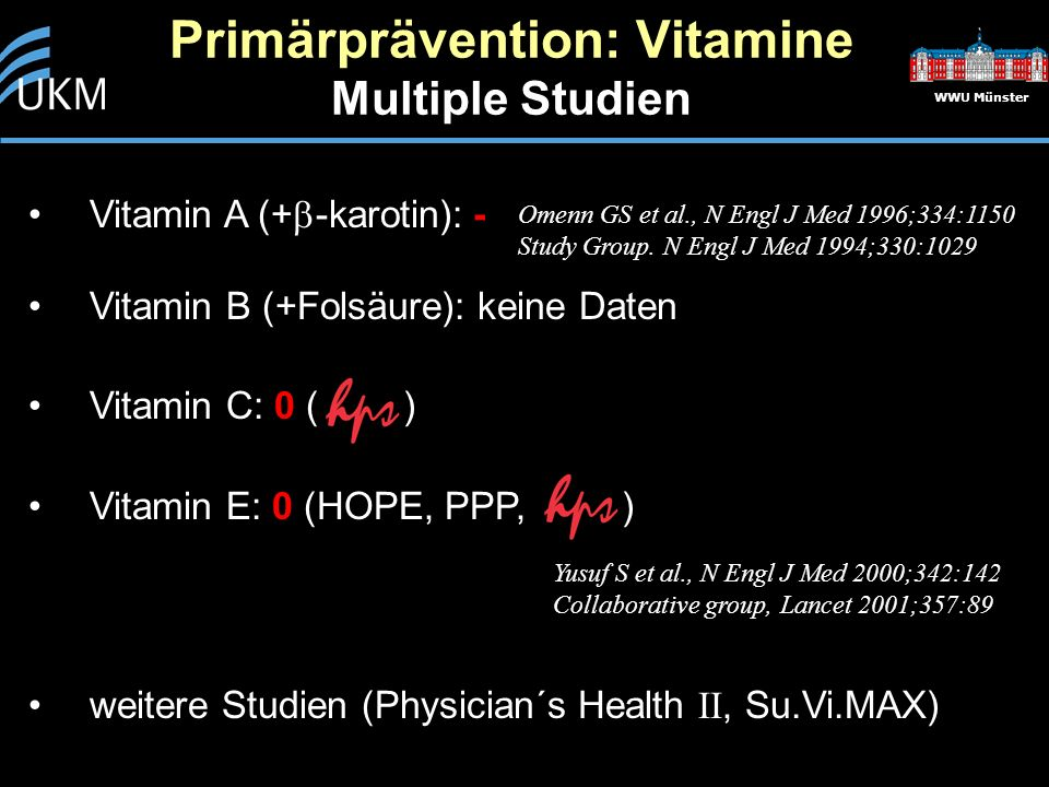 Primärprävention: Vitamine Multiple Studien