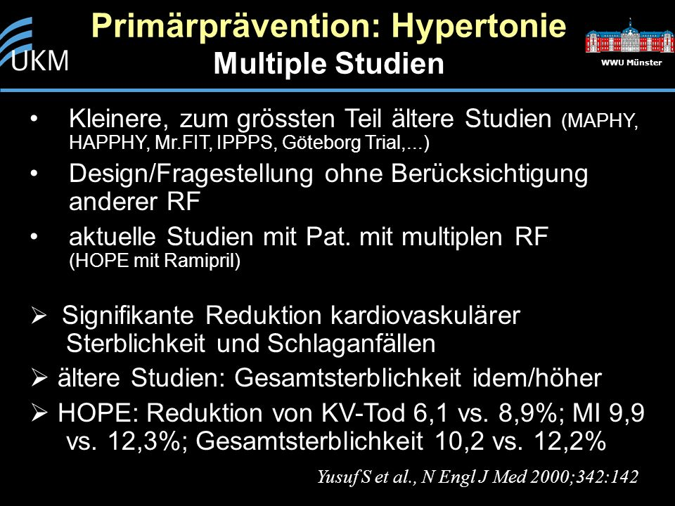 Primärprävention: Hypertonie Multiple Studien