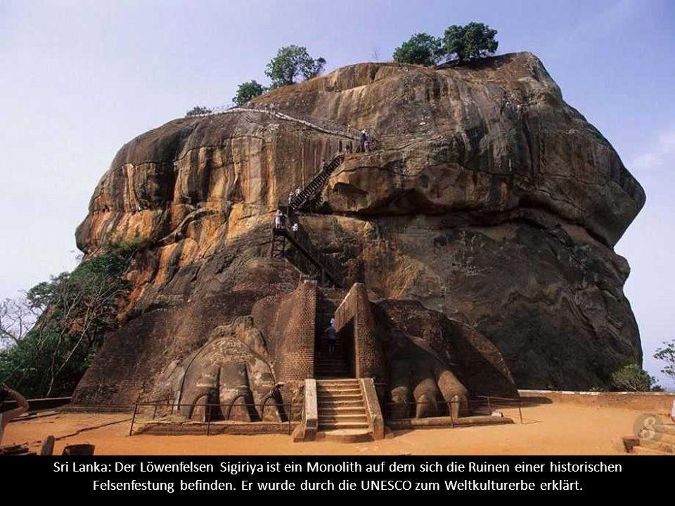 Sri Lanka: Der Löwenfelsen Sigiriya ist ein Monolith auf dem sich die Ruinen einer historischen Felsenfestung befinden.