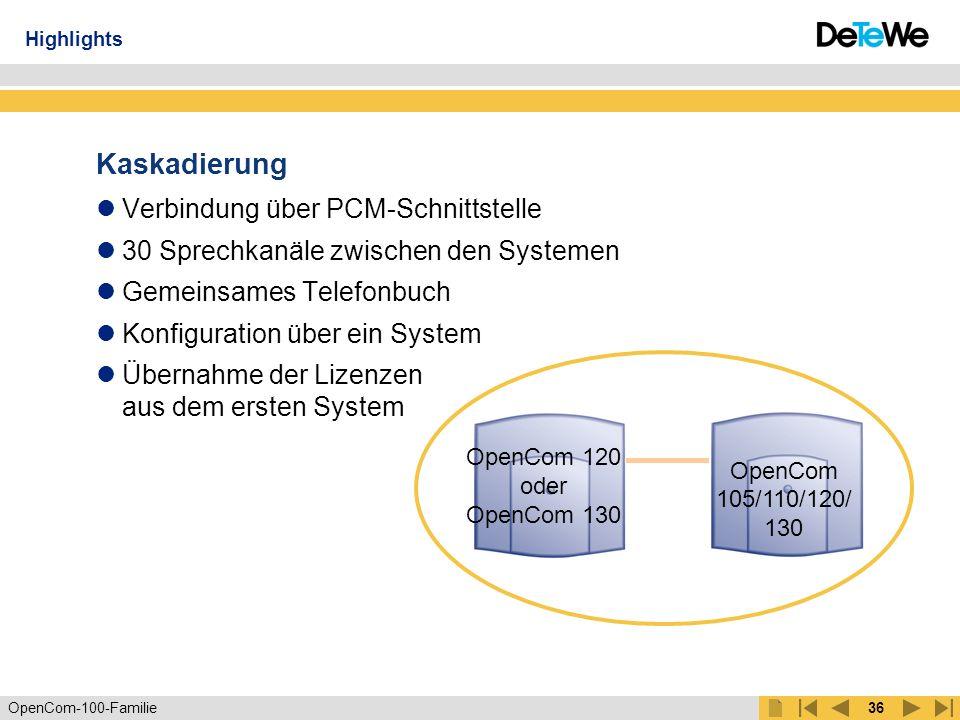 Kaskadierung Verbindung über PCM-Schnittstelle