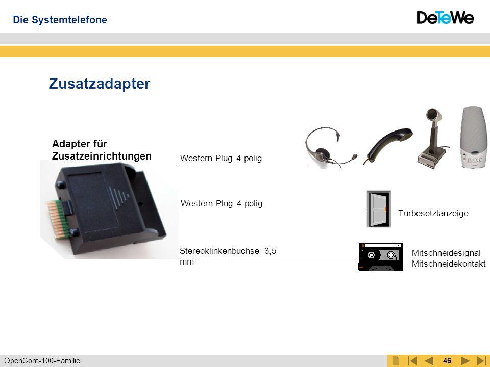Zusatzadapter Die Systemtelefone Adapter für Zusatzeinrichtungen