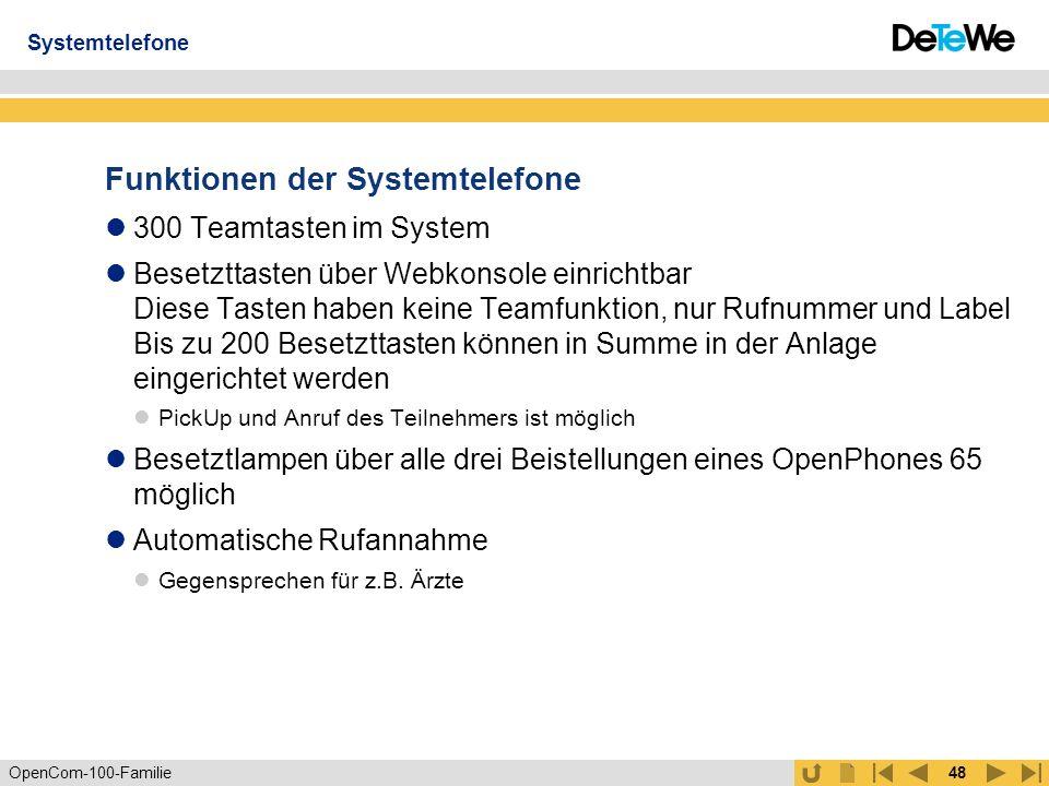 Funktionen der Systemtelefone