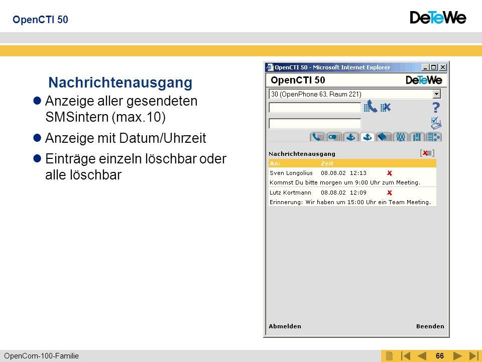 Nachrichtenausgang Anzeige aller gesendeten SMSintern (max.10)
